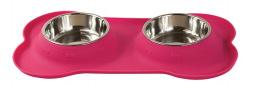 Bļoda suņiem metāla ar palikni - Dog Fantasy dubulta silikona bļoda M, 300 ml