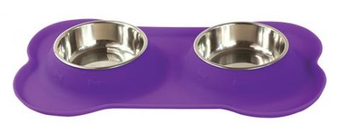 Bļoda suņiem metāla ar palikni - Dog Fantasy dubulta silikona bļoda S, 160ml, krāsa - violeta  title=