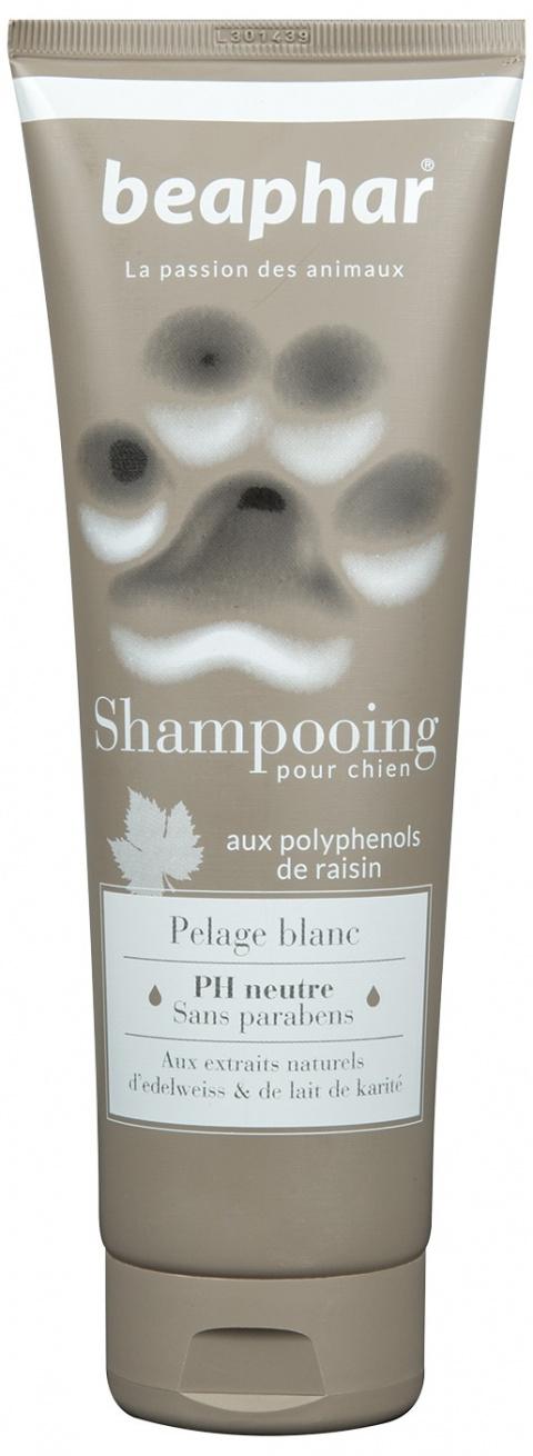 Šampūns suņiem - Beaphar Pour Chien, PELAGE BLANC, suņiem ar baltu apmatojumu, 250 ml
