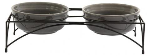 Миски на штативе – Dog Fantasy Eat on Feet Ceramic Bowl, Grey, 2 x 12,5 см title=
