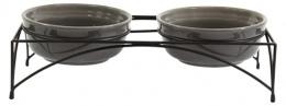 Paliktnis ar bļodām – Dog Fantasy Eat on Feet Ceramic Bowl, Grey, 2 x 12,5 cm
