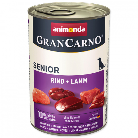Консервы для собак - GranCarno Senior Beef and Lamb, 400 г title=