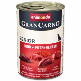 Konservi suņiem - GranCarno Senior Beef and Turkey hearts, 400 g
