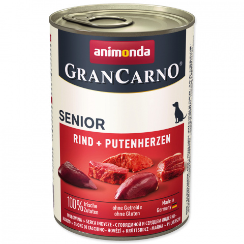 Консервы для собак - GranCarno Senior Beef & Turkey hearts, 400 г