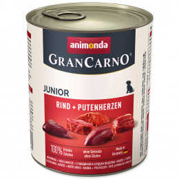 Konservi kucēniem - Animonda GranCarno Junior, Beef & Turkeyhearts, 800g