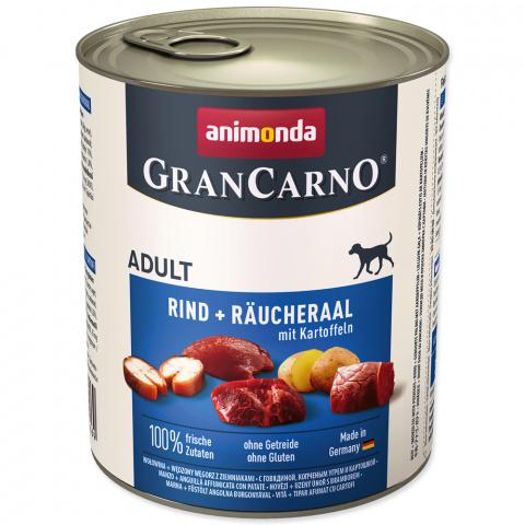 Konservi suņiem - GranCarno Plus Adult Smoked eel & potatoes, 800 g