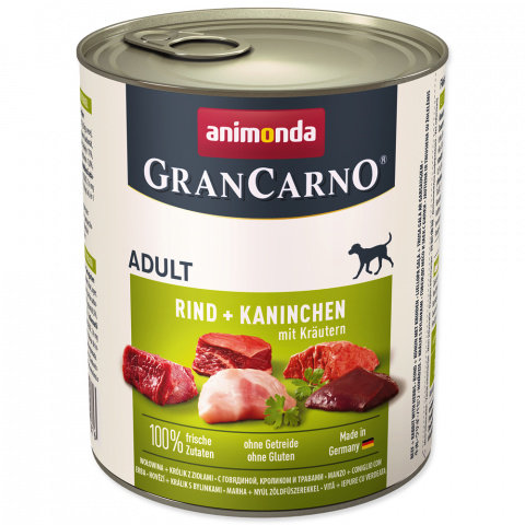 Konservi suņiem - GranCarno Plus Adult ar truša gaļu un zaļumiem, 800 g