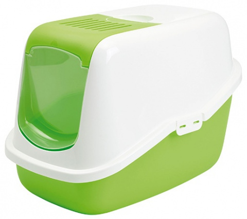 Туалет для кошек - Nestor, яблочно зеленый - белый, 56*39*38.5 см title=