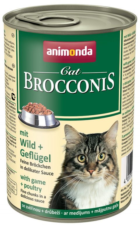 Konservi kaķiem - Animonda Brocconis Cat, ar medījuma un vistas gaļu, 400 g title=