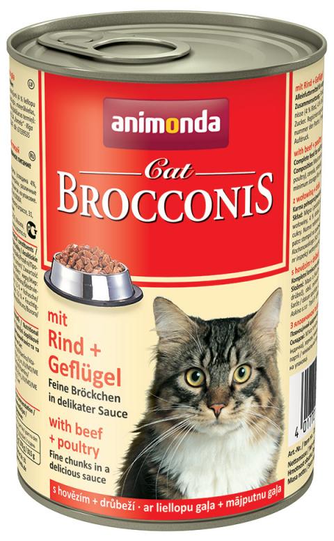 Konservi kaķiem - Animonda Brocconis Cat, ar liellopa un vistas gaļu, 400 g