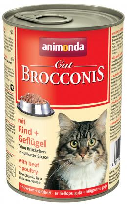 Konservi kaķiem - Animonda Brocconis Cat, ar liellopa un vistas gaļu, 400g