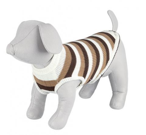 Джемпер для собак - Hamilton Pullover, M, 45 cm, коричневый/белый в полоску