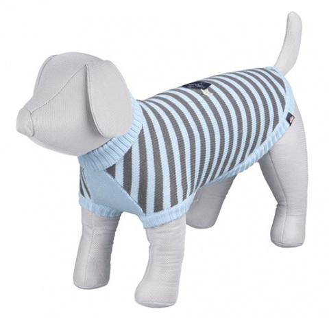 Džemperis suņiem - Dolomiti Pullover, XS, 24cm, zila/pelēka ar strīpām