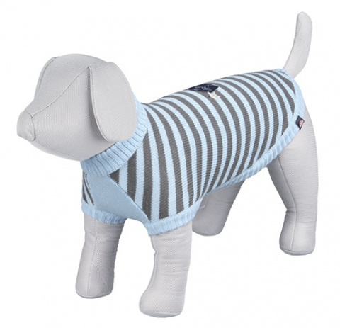 Джемпер для собак - Dolomiti Pullover, S, 33cm, синий/серый в полоску