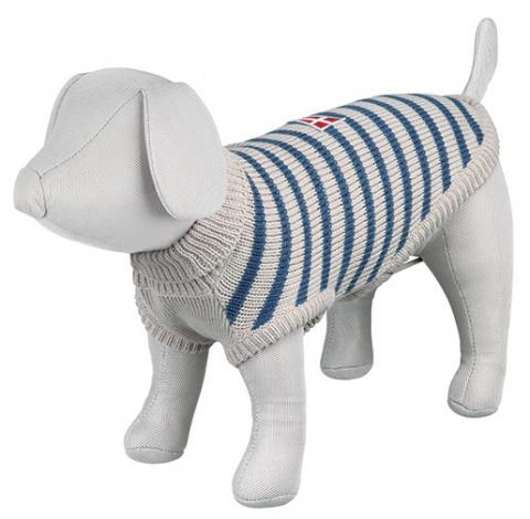 Джемпер для собак - Milton Pullover, XS, 27cm, серый/синий в полоску