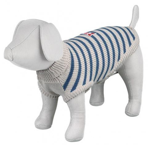 Джемпер для собак - Milton Pullover, S, 36cm, серый/синий в полоску title=