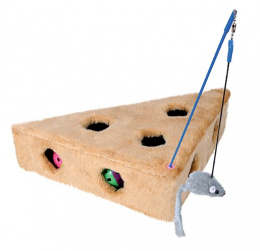 Rotaļlieta kaķiem - Cat's Cheese with playing rod & 3toy balls