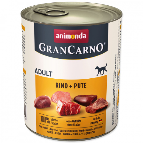 Консервы для собак - GranCarno Adult Beef & Turkey, 800 г