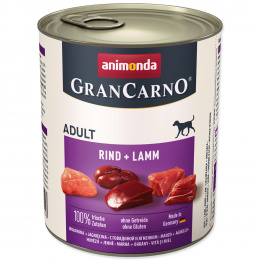 Konservi suņiem - GranCarno Adult Beef and Lamb, 800 g