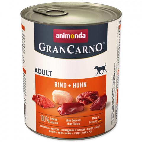Konservi suņiem - GranCarno Adult ar liellopa un cāļa gaļu, 800 g