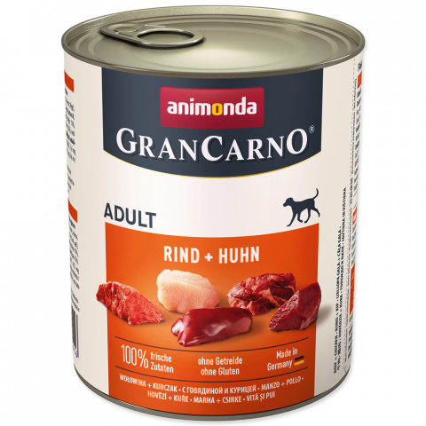 Консервы для собак - GranCarno Adult с говядиной и цыпленком, 800 г