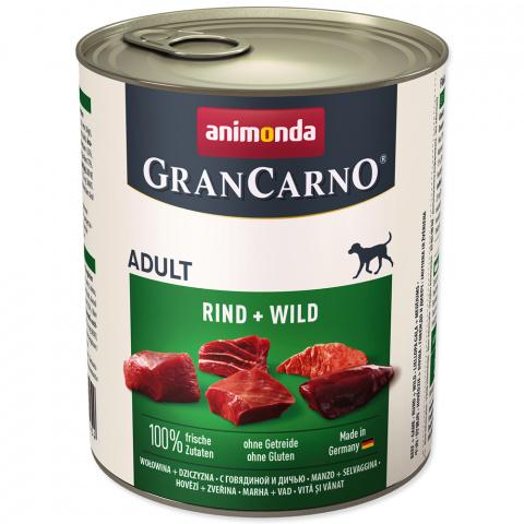 Konservi suņiem - GranCarno Adult Beef and Game, 800 g title=