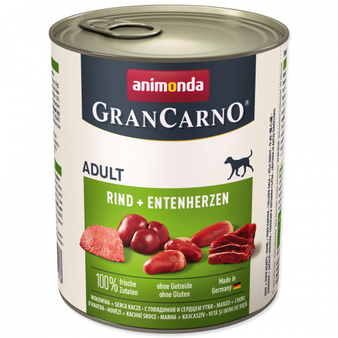 Konservi suņiem - GranCarno Adult Beef & Duck heart, 800 g
