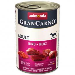 Konservi suņiem - GranCarno Adult ar liellopa gaļu un sirdīm, 400 g