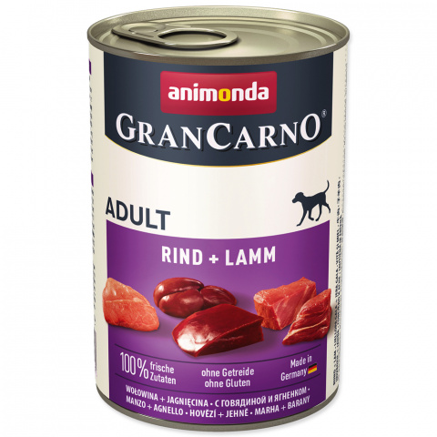 Konservi suņiem - GranCarno Adult Beef and Lamb, 400 g title=