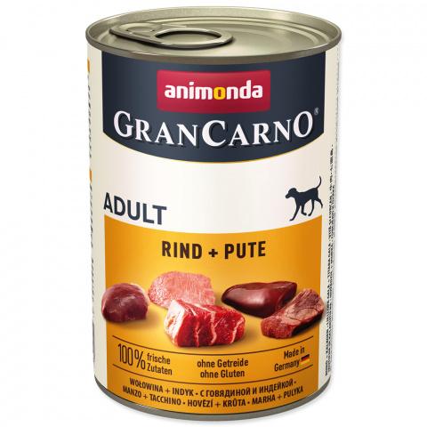 Konservi suņiem - GranCarno Adult Beef & turkey, 400 g