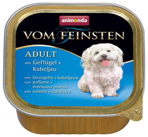 Konservi suņiem - Vom Feinsten Mare, ar vistu un mencu, 150 g  title=