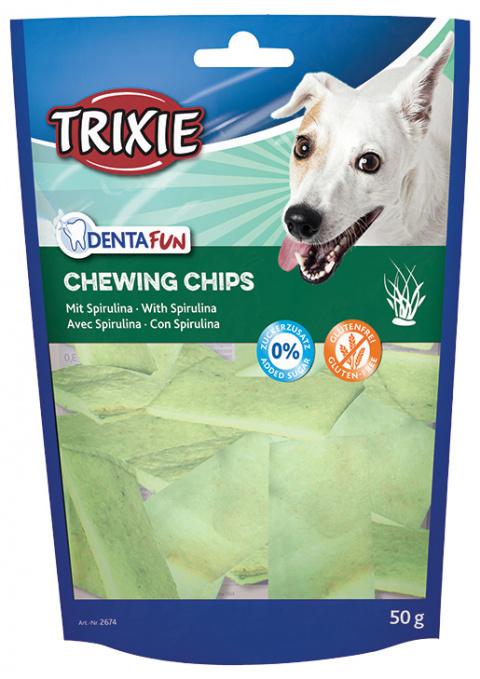 Gardums suņiem - TRIXIE Chewing Chips with Spirulina Algae, 50 g title=