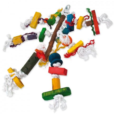 Игрушка для птиц - BIRD JEWEL веревка с деревянными фигурками, 40 см title=