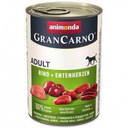 Konservi suņiem - GranCarno Adult Beef and Duck heart, 400 g