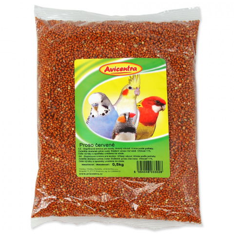 Корм для птиц - Avicentra, красные зерна проса, 500 г title=
