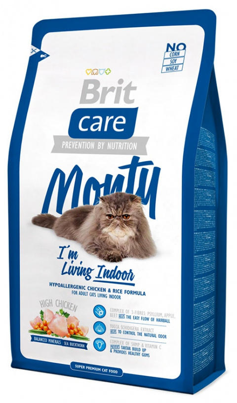 Bar­ība kaķiem - Brit Care Cat Monty I'm Living Indoor, vistas gaļa un rīsi, 2 kg title=