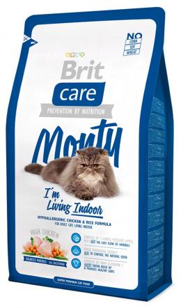 Barība kaķiem - Brit Care Cat Monty I'm Living Indoor, vistas gaļa un rīsi, 2 kg
