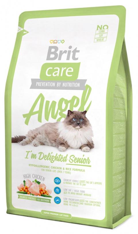 Barība kaķiem - Brit Care Cat Angel I'm Delighted Senior, ar vistas gaļu un rīsiem, 400 gr.