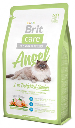 Barība kaķiem - Brit Care Cat Angel I'm Delighted Senior, ar vistas gaļu un rīsiem, 400 gr.