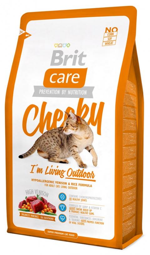 Barība kaķiem - Brit Care Cat Cheeky I'm Living Outdoor, ar brieža gaļu un rīsiem, 2 kg title=
