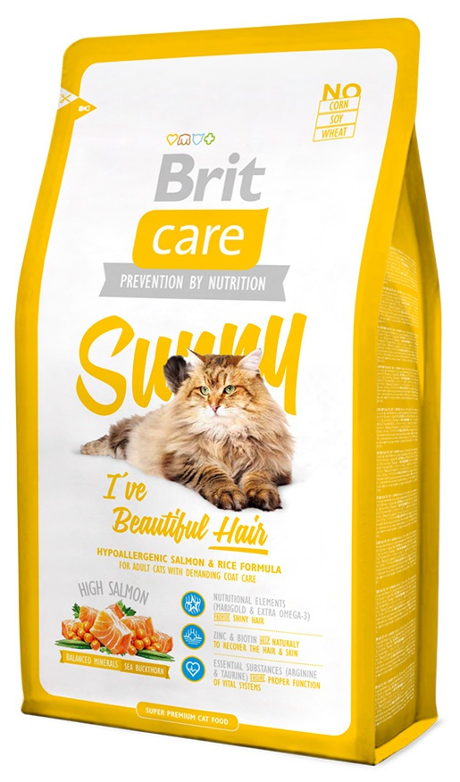 Barība kaķiem - Brit Care Cat Sunny I've Beautiful Hair, ar lasi un rīsiem, 400 gr