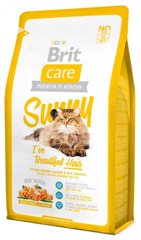 Корм для кошек - Brit Care Cat Sunny I've Beautiful Hair,  лосось и рис, 2 kg title=