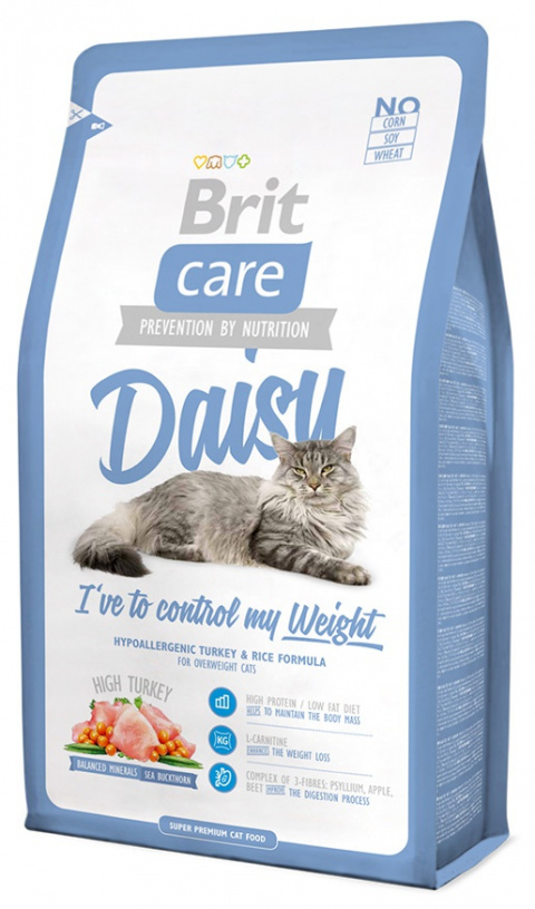 Корм для кошек - Brit Care Cat Daisy I've to control my Weight, индейка и рис, 2 kg title=