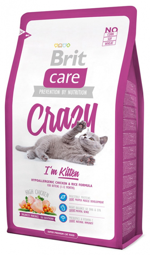 Barība kaķiem - Brit Care Cat Crazy I'm Kitten,ar vistas gaļu un rīsiem, 2 kg title=