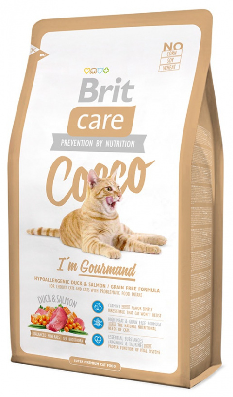 Barība kaķiem - Brit Care Cat Cocco I'am Gourmand, pīle un lasis , 400 gr title=