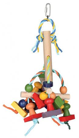 Rotaļlieta putniem - Colourful wooden toy, 31 cm
