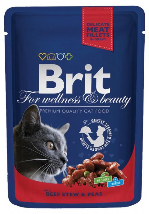 Konservi kaķiem - BRIT Premium, ar liellopa gaļu un zirņiem (mērcē), 100 g