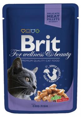 Консервы для кошек -  BRIT Premium, с кусочками трески ( в соусе), 100 gr