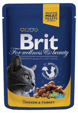 Konservi kaķiem - BRIT Premium, vistas gaļu un tītaru, 100 g