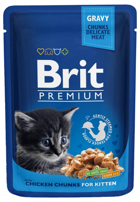 Konservi kaķēniem - BRIT Premium for Kitten, ar vistas gaļu, 100 g title=